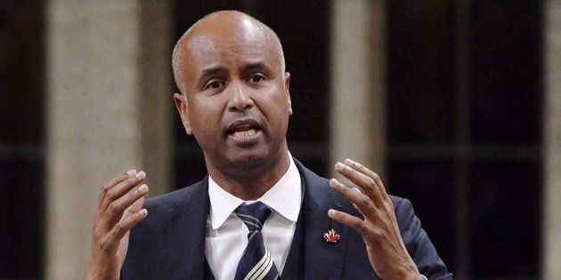 Immigration Minister Ahmed Hussen rises during question period in the House of Commons on Parliament...
