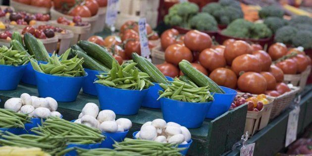Vegetables are on display at the Jean Talon Market on Jan. 11, 2016 in