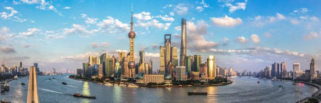 A panoramic view of Shanghai's financial district.