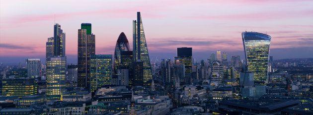 London's financial district at nightfall.