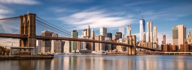 The Manhattan skyline as seen from Brooklyn Bridge Park.