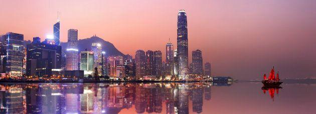 Hong Kong's Victoria Harbor at dusk.