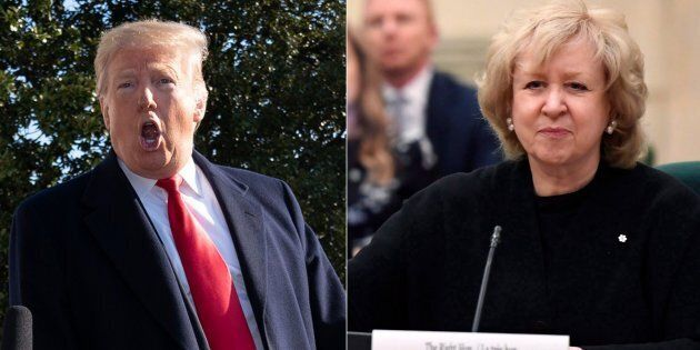 Left: U.S. President Donald Trump leaves the White House on Jan. 6, 2019. Former prime minister Kim Campbell (right) called the U.S. president a