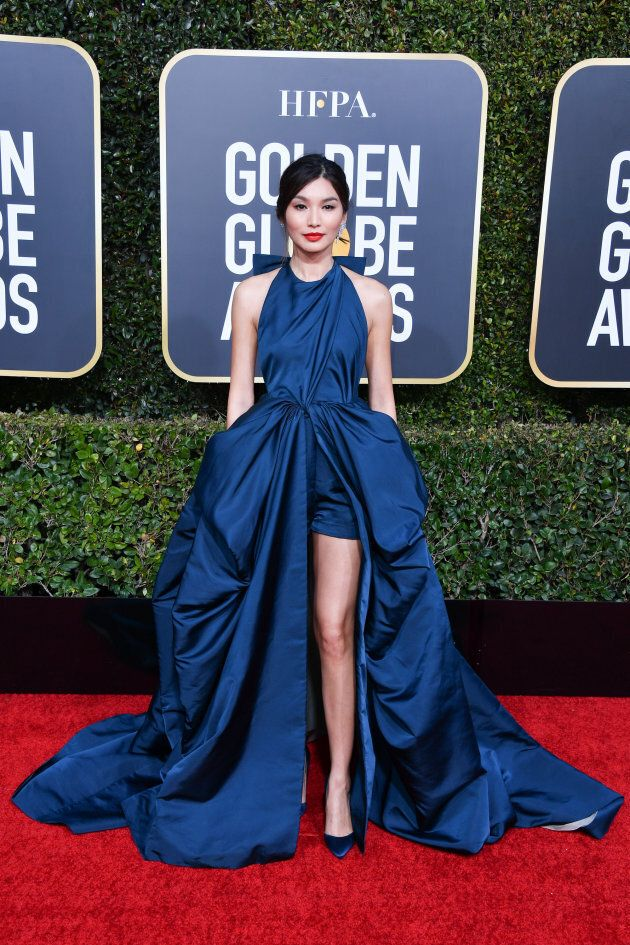 Gemma Chan slaying on the Golden Globes red carpet.