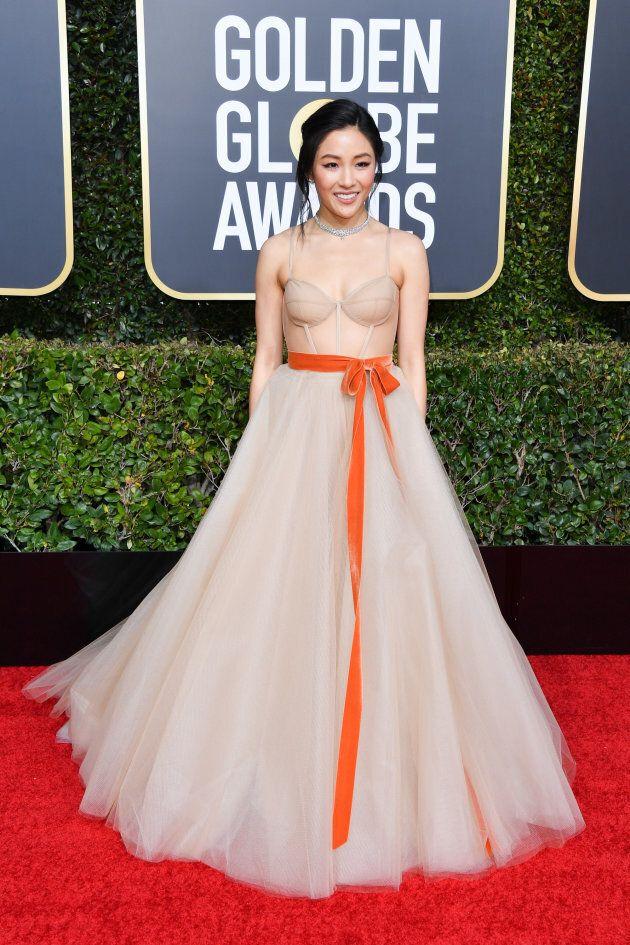 Constance Wu chose to wear Asian-American designer Vera Wang.