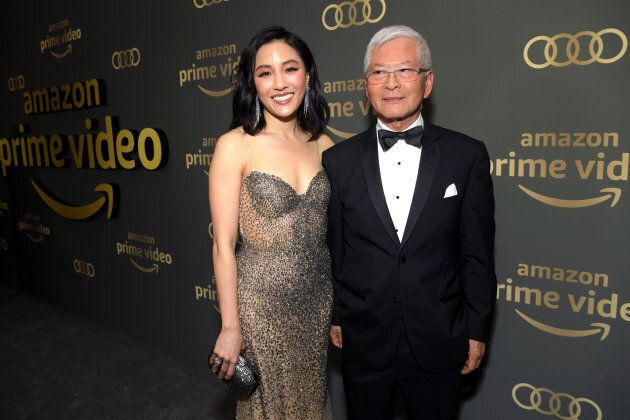 Constance Wu with her dad at Amazon Prime Video's Golden Globe Awards After Party.