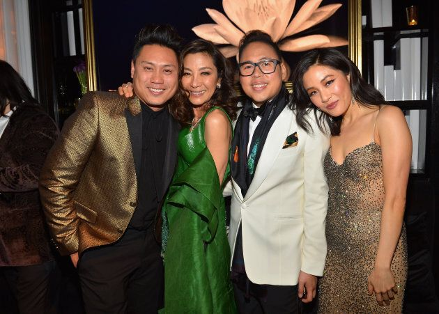 (L-R) Jon M. Chu, Michelle Yeoh, Nico Santos and Constance Wu at the InStyle and Warner Bros. Golden Globe Awards post-party.