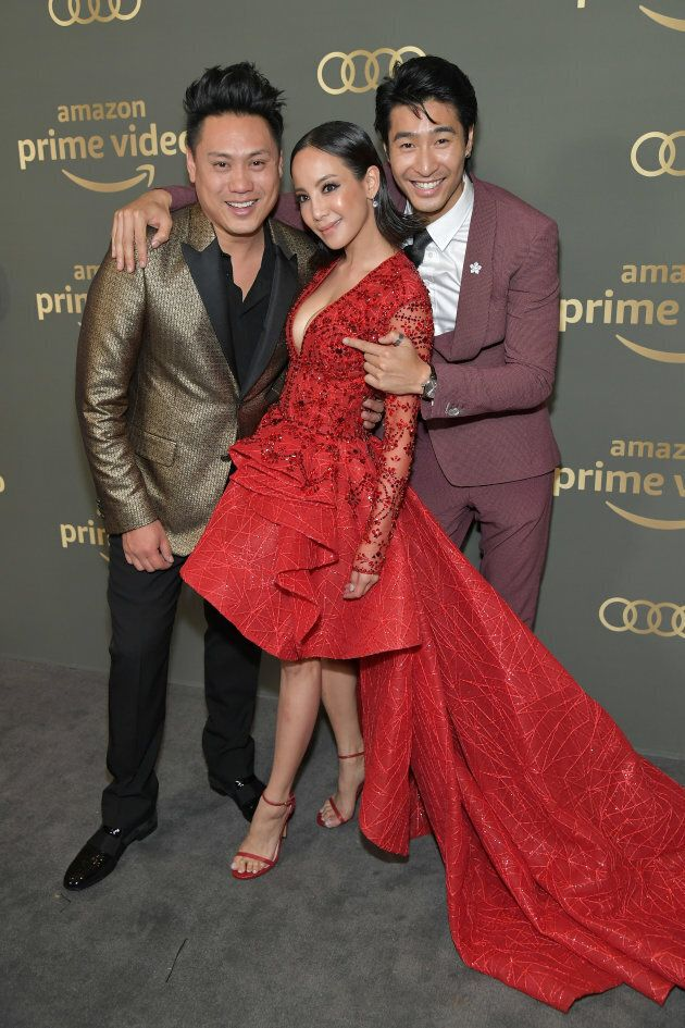 (L-R) Jon M. Chu, Fiona Xie, and Chris Pang attend Amazon Prime Video's Golden Globe Awards After Party.