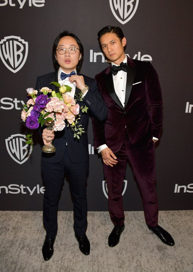 Jimmy O. Yang and Harry Shum Jr. at the InStyle and Warner Bros. Golden Globe Awards post-party.
