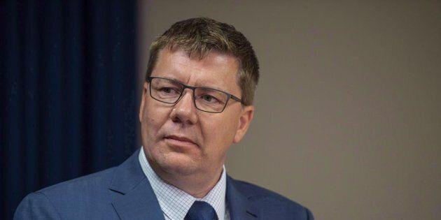 Saskatchewan Premier Scott Moe attends a media event in Saskatoon on Oct. 4,