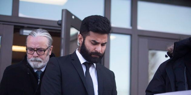 Jaskirat Singh Sidhu leaves provincial court in Melfort, Sask., Jan., 8,