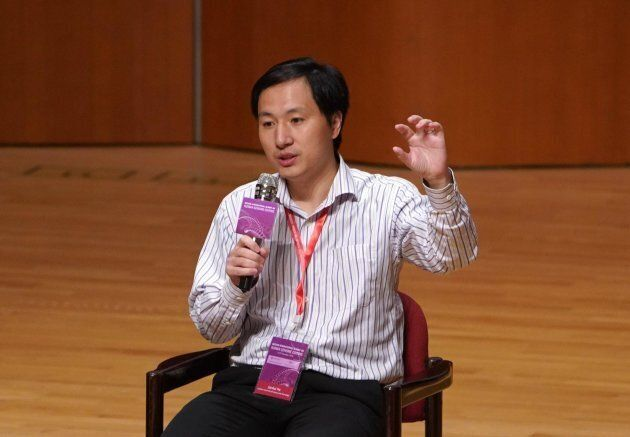 Biological researcher He Jiankui speaks at a summit on human genome editing at the University of Hong...