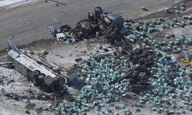 The wreckage of the Humboldt broncoscrash outside of Tisdale, Sask., is seen on April, 7,