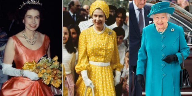 From left: Queen Elizabeth at a RADA performance in 1964; on a state visit to Mexico in 1975; and at...