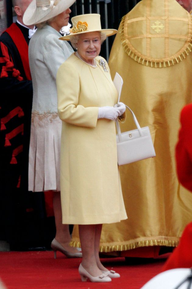 Queen Elizabeth at Prince William's wedding to Kate Middleton at Westminster Abbey in London on April...