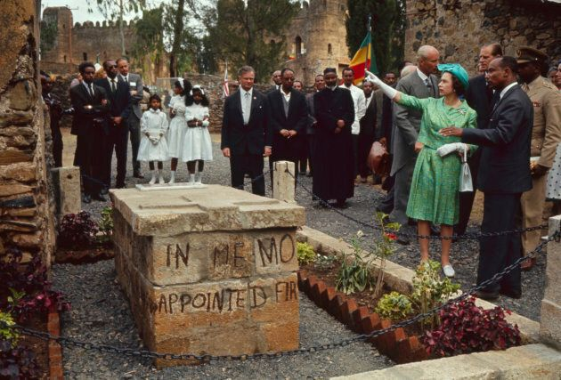 Queen Elizabeth II and Prince Philip (background, third right) tours Fasil Ghebbi, Gondar, Ethiopia,...