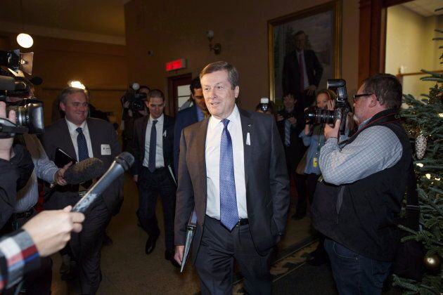 Mayor Tory arrives at Queen's Park in Toronto on Dec. 6,