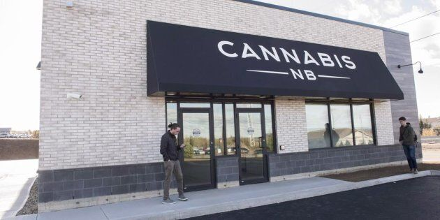The exterior of a Cannabis NB retail store in Fredericton, N.B., Tues. Oct. 16, 2018. New Brunswick's...