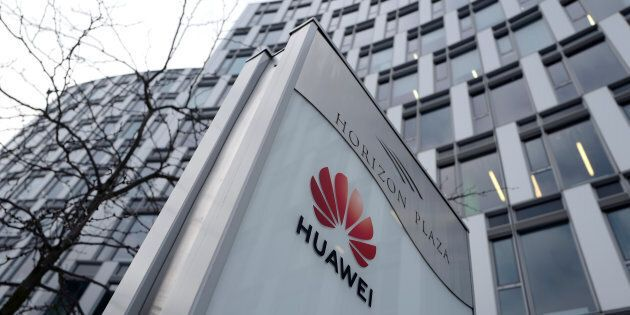 Huawei's logo in front of the company's local offices in Warsaw, Poland, Jan. 11. Poland has charged...