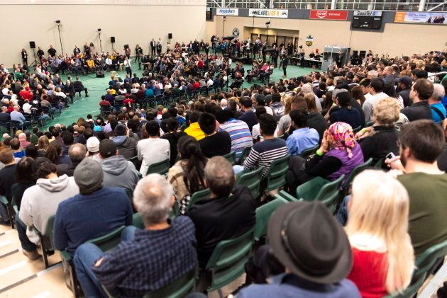 Prime Minister Justin Trudeau speaks during a town hall at University of Regina in Regina on Jan. 10,