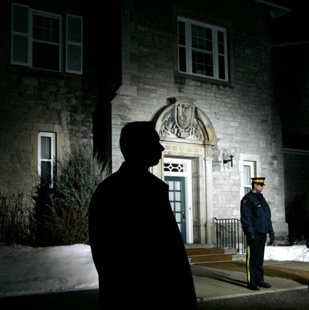 Royal Canadian Mounted Police stand watch outside of 24 Sussex Drive during the First Ministers meeting...