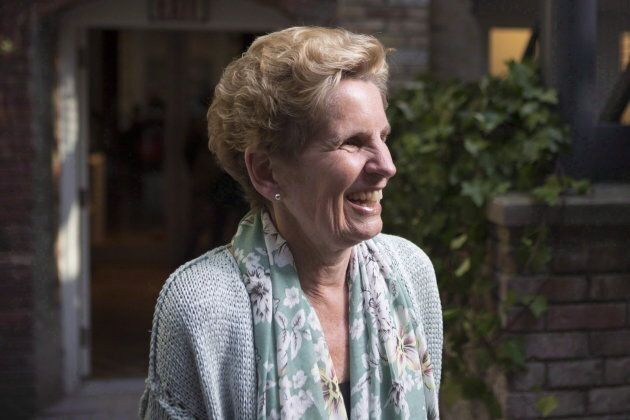 Former Ontario premier Kathleen Wynne visits a daycare in Toronto on May 18,