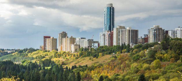 Buildings overlooking the North Saskatchewan River Valley in