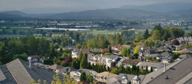 The view from Whatcom Rd. at McKee Rd. in Abbotsford, B.C., looking towards the city of Mission.
