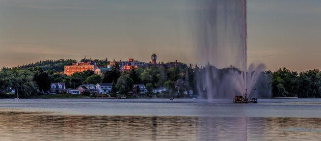 The tallest jet fountain in Canada, with the City of Peterborough in the background.