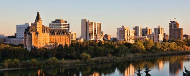 The Saskatoon skyline overlooking the South Saskatchewan River.