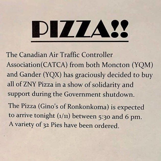 Air traffic controllers in Newfoundland and New Brunswick bought pizza for their counterparts in New York.