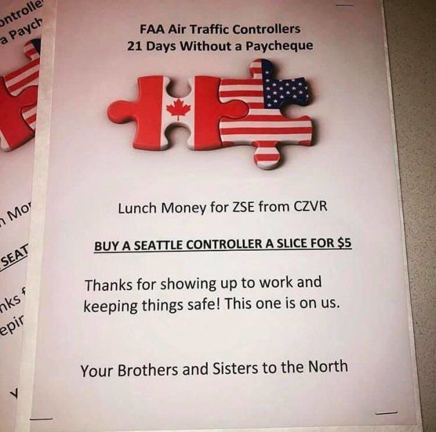 Vancouver air traffic controllers bought lunch for their counterparts in Seattle.