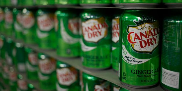 Cans of Canada Dry Ginger Ale at a bottling plant in Louisville, Kentucky, on April 21,