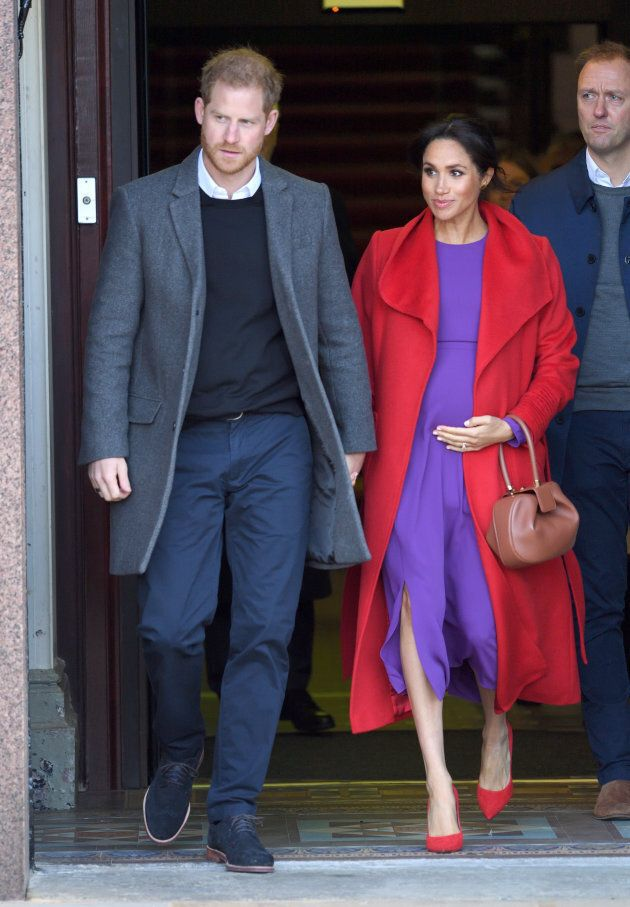 The Duke and Duchess of Sussex meet members of the public during a visit to Birkenhead, England.