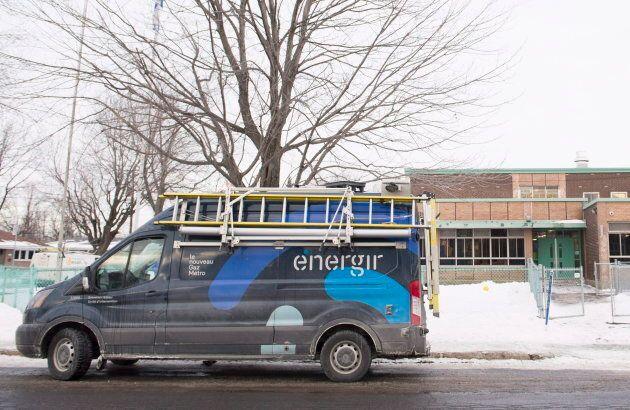 A Gas/Metro van is shown outside Ecole des Decouvreurs on Jan. 14,