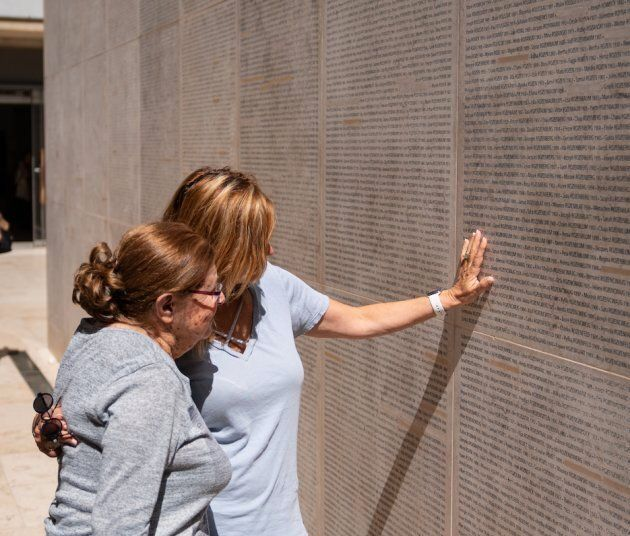 Charlotte Adelman with her daughter at the Shoah Memorial in Paris.