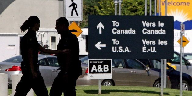 An inspection booth at the Douglas border crossing on the Canada-U.S. border in Surrey, B.C., on Aug....