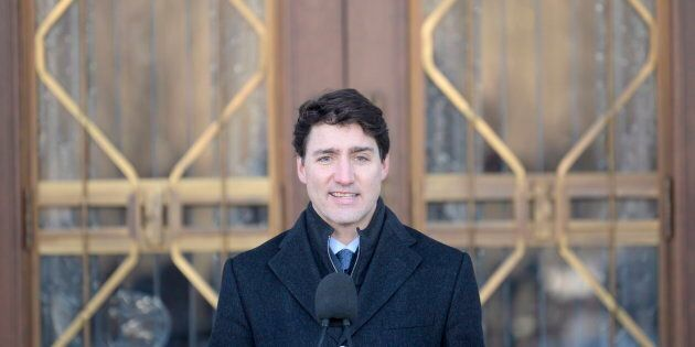 Prime Minister Justin Trudeau addresses the media following a swearing in ceremony at Rideau Hall in...