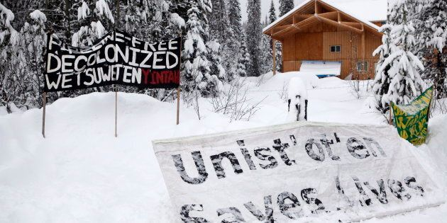 Signage at the Unist'ot'en camp is pictured near Houston, B.C., on Jan. 9,