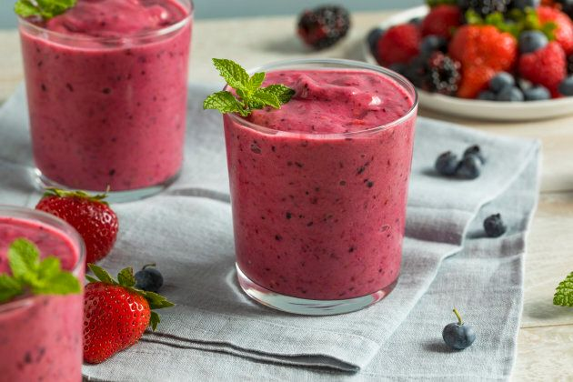 Healthy berry smoothie with blueberries, blackberries and