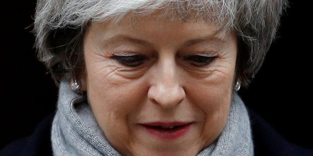 British PM Theresa May leaves Downing Street in London on Jan. 15,