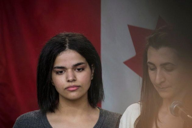 Rahaf Mohammed stands next to her translator at the COSTI Corvetti Education Centre in Toronto on Jan....