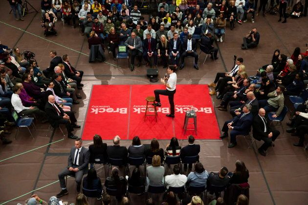 Prime Minister Justin Trudeau speaks during a town hall at Brock University in St. Catharines, Ont. Jan....