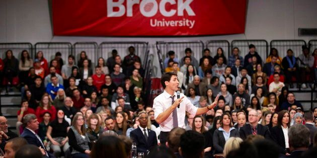 Prime Minister Justin Trudeau speaks during a town hall at Brock University in St. Catharines, Ont.,...