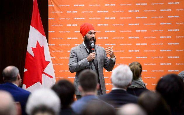 NDP Leader Jagmeet Singh addresses the NDP staff forum in Ottawa on Dec. 4, 2018.