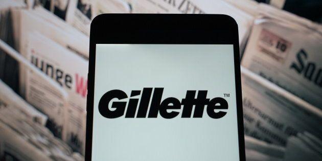 The Gillette logo on a smartphone in Hong Kong, Nov. 11, 2018. Gillette's socially conscious message...