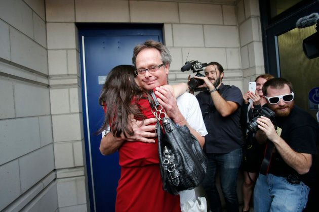 Marc Emery is greeted by his then-wife Jodie in Windsor, Ont.  following his release from an American prison on Aug. 12, 2014.