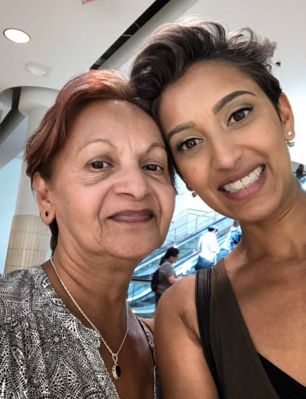 Natalie Ramtahal and her mother Basdaye Ramtahal enjoying a day of shopping at the Toronto Eaton Centre.