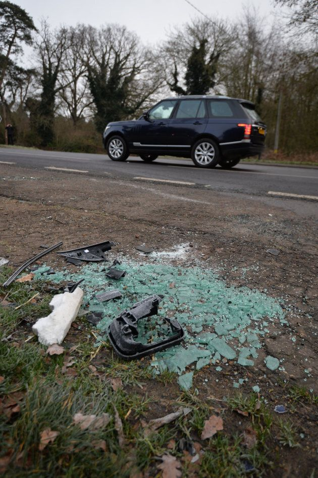 Broken glass and car parts on the side of the A149 near to the Sandringham Estate where the Duke of Edinburgh...