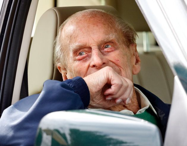 Prince Philip seen sitting in his Land Rover on May 13, 2018 in Windsor, England. Philip was driving...